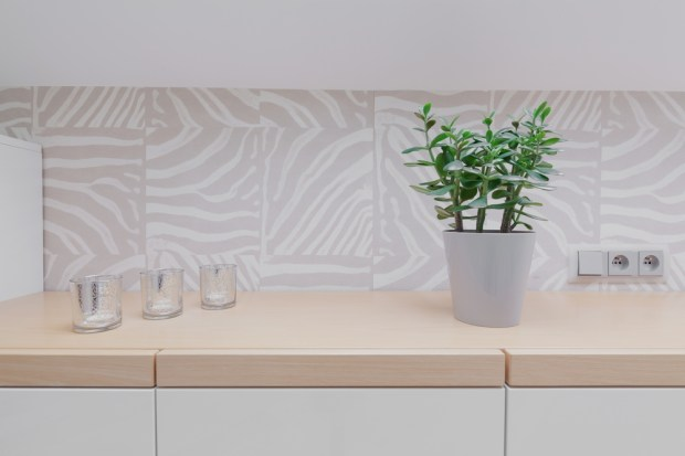 Big tiles are a popular backsplash trend.
