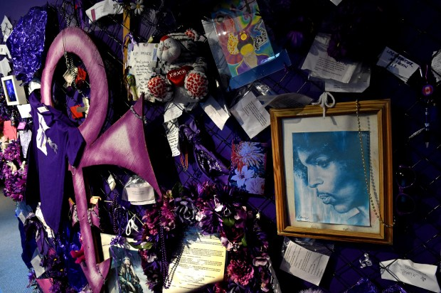 The Fence area shows items that fans left at Prince's Paisley Park in Chanhassen on Wednesday, Nov. 2, 2016. Paisley Park has opened for public tours after unanimous approval by the Chanhassen City Council. (Pioneer Press: Jean Pieri)