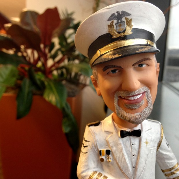 A Dan Stoltz bobblehead wears the uniform of the Minneapolis Aquatennial Commodore in a Nov. 25, 2016, photo. Stoltz, CEO of Spire Federal Credit Union, also was King Boreas Rex LXXIX of the St. Paul Winter Carnival. (Pioneer Press: Jaime DeLage)