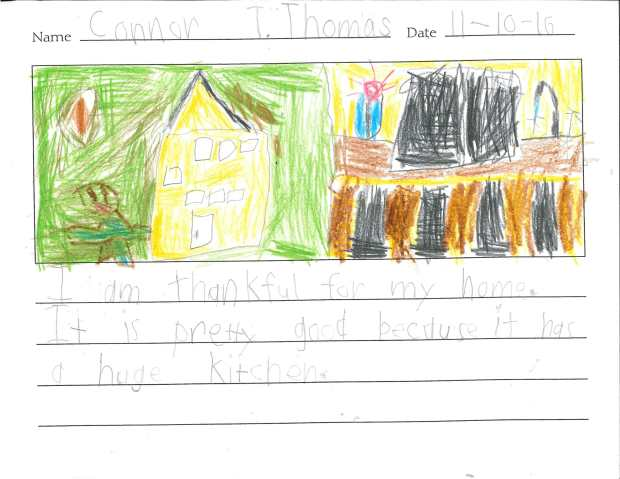 """""""I am thankful for my home. It is pretty good because it has a huge kitchen."""" — Connor T., Eagan, Pinewood Community School"""