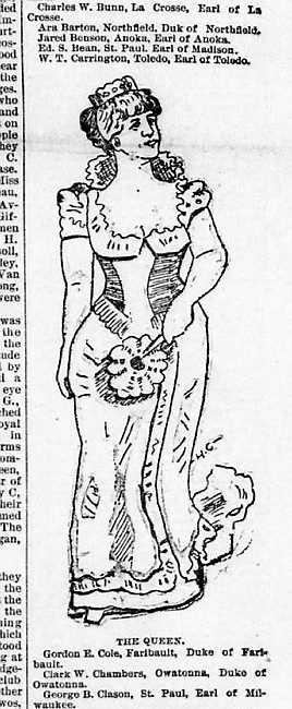 "An illustration of Mary Harbaugh Brooks (""Mrs. L.L.C. Brooks""), the first Queen of the Snows of the St. Paul Winter Carnival, from the front page of the Feb 4, 1886, St. Paul Daily Globe newspaper. Image courtesy of the Library of Congress."