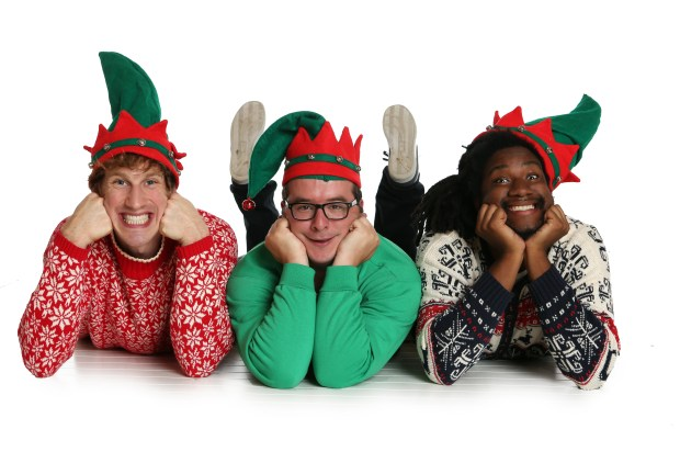 """Tom Reed (left), Ryan Nelson and Denzel Belin are in Brave New Workshop's holiday revue, """"What the Elf?!"""" (Photo by Dani Werzer)"""