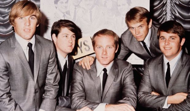 Drummer and Beach Boys co-founder Dennis Wilson, left, was born on this day in 1944. He's shown in a 1964 picture with the group, next to him his brother Brian Wilson, cousin Mike Love, Al Jardine and brother Carl Wilson. Dennis was said to have lived the true Beach Boys-surfer lifestyle. Dennis Wilson drowned in 1983. (Getty Images: Hulton Archive)