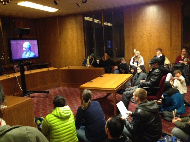 A St. Paul City Council meeting on Wednesday night, Dec. 7, 2016, was so heavily attended an overflow room was set up with a closed-circuit television monitor. The council was discussing changes to the city commission that reviews allegations of police wrongdoing. (Pioneer Press: Frederick Melo)