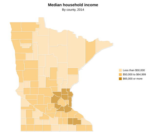 Map made by the nonprofit Minnesota Compass showing median household income by county in 2014.