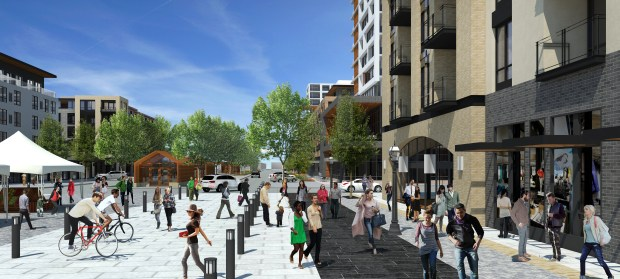 An artist's concept of the future town center in Rice Creek Commons, a mix of residential and commercial neighborhoods planned for the former Twin Cities Army Ammunition Plant in Arden Hills. The Ramsey County board approved changes to the area's development plan Tuesday, Dec. 20, 2016. Image courtesy of ESG Architects.