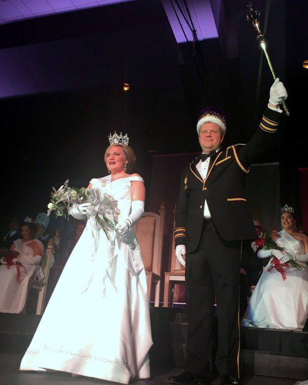 Lindsey Jo Sandoval is crowned Aurora, Queen of the Snows, while Jason Bradshaw is crowned King Boreas Rex in a ceremony Friday, Jan. 27, 2017, at the RiverCentre in St. Paul. (Courtesy photo: Molly Steinke)