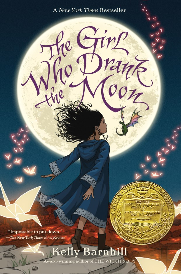 """This undated photo provided by Algonquin Young Readers shows the book cover for the children's book titled """"The Girl Who Drank the Moon,' by Kelly Barnhill, of Minneapolis. The American Library Association announced Monday, Jan. 23, 2017, the book has won the John Newbery Medal for the year's outstanding children's book. It is a fairy tale about an abandoned baby with a crescent-shaped birthmark on her forehead. (Algonquin Young Readers via AP)"""
