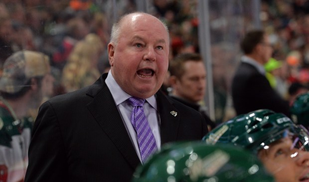 Minnesota Wild head coach Bruce Boudreau shouts instructions to his players as the Wild take on the Calgary Flames in the third period at Xcel Energy Center in St. Paul on Tuesday, Nov. 15, 2016. Calgary beat the Wild, 1-0. (Pioneer Press: John Autey)