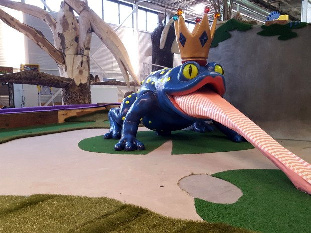Undated courtesy photo, circa Jan. 2017, of the Blue Toad mini golf hole at Can Can Wonderland, designed by Andree Tracey and fabricated by Naomi Austin, Nance Derby Davidson, and Stephen Rife. Can Can Wonderland, an artist-designed mini-golf course with Coney Island-style attractions, opens Thursday in an industrial space in St. Paul's Hamline-Midway neighborhood. Photo courtesy of Jennifer Pennington.
