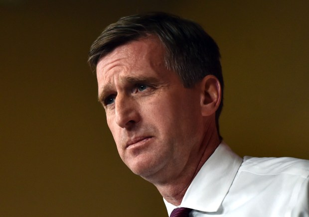 University of Minnesota Athletics Director Mark Coyle speaks to the media about the firing of Gophers head football coach Tracy Claeys during a news conference in Minneapolis on Tuesday, Jan. 3, 2017. (Pioneer Press: John Autey)
