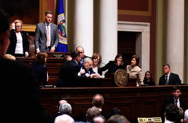 Minnesota Governor Mark Dayton collapses while giving his annual State of the State Address in the House Chambers of the State Capitol in St. Paul, Monday, January 23, 2017. (Pioneer Press: Scott Takushi)