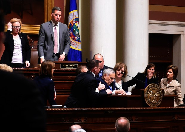 Minnesota Governor Mark Dayton collapses while giving his annual State of the State Address in the House Chambers of the State Capitol in St. Paul, Monday, January 23, 2017. Dayton had tripped earlier in the evening before heading to the podium. (Pioneer Press: Scott Takushi)