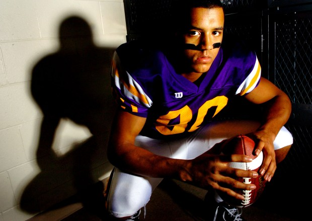 Cretin-Derham Hall wide receiver Michael Floyd, the Pioneer Press high school football player of the year, poses for a portrait in the visitor locker room at Cretin on Nov. 20, 2007. (Pioneer Press: Sherri LaRose-Chiglo)