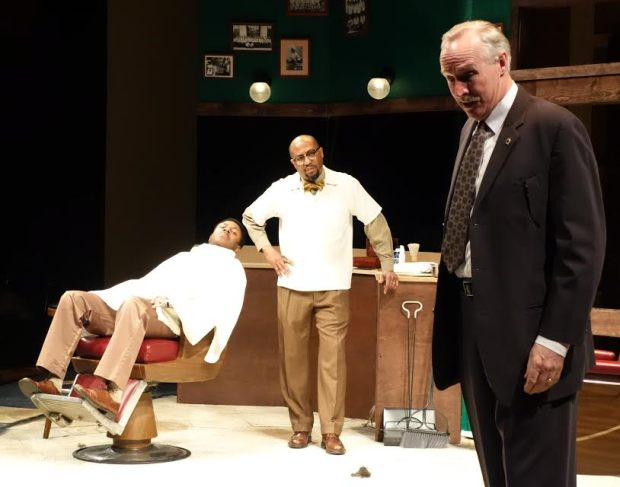 "Characters debate the fate of St. Paul's Rondo neighborhood in ""The Highwaymen."" From left: Darrick Mosley, Kevin D. West and Peter Thomson. (History Theatre)"