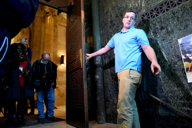 Nathan Leonhardt, a maintenance worker at the Cathedral of St. Paul shows Thursday, Jan. 5, 2017, where he found a baby between the exterior and interior doors of the Dayton Avenue entrance of the church when he was closing up after the 5:15 p.m. mass on Wednesday, Jan. 4, in St. Paul. He said at first he thought someone had left laundry. Then he thought it was a baby puppy. He brought the baby to Rev. John Ubel who called the police. (Pioneer Press: Jean Pieri)