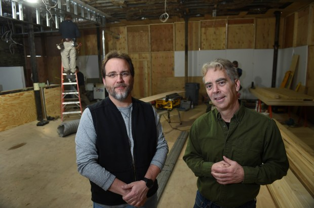 Owner Matthew Clayton, left, and Executive Chef Rick Berdahl pose in the space where J. Selby's is under construction at the corner of Selby Avenue and Victoria Street in St. Paul, January 18, 2017. (Pioneer Press: Scott Takushi)