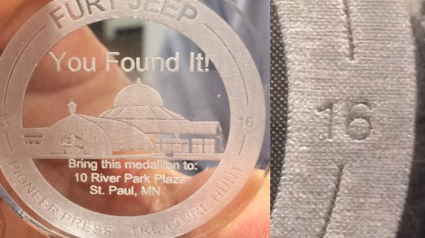 In this collage of two pictures, the 2017 Pioneer Press Treasure Hunt medallion, held by winner Jerome Krieger, carries the year 2016 on it. Pioneer Press: Dave Orrick