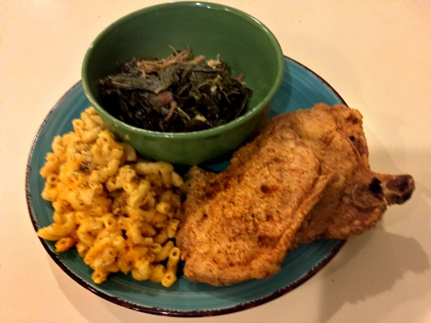 Jan. 2017 photo of breaded pork chops, collard greens and mac & cheese at Judy's Kitchen STP in St. Paul. (Pioneer Press: Nancy Ngo)