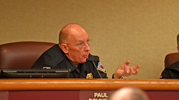 Maplewood, Minn., police Chief Paul Schnell discusses closing Stargate nightclub in an emergency meeting of the city council Wednesday, Feb. 22, 2017, in the wake of a shooting Saturday that left five people injured. (Pioneer Press: Dave Orrick)