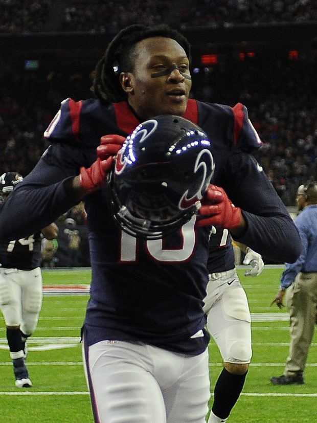 Houston Texans wide receiver DeAndre Hopkins (10) walks off the field after the first half of an AFC Wild Card NFL football game between the Houston Texans and the Oakland Raiders, Saturday, Jan. 7, 2017, in Houston. (AP Photo/Eric Christian Smith)