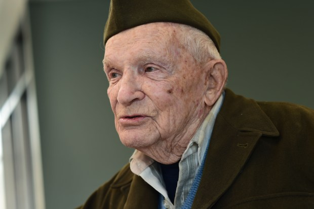 World War II veteran Jean DeCurtins, 98, photographed in Stillwater on Feb. 27, 2017, is the last surviving member of the A&D Last Man's Club. He was among the 180 young men who joined the Minnesota National Guard's 135th Infantry and left Stillwater on Feb. 25th, 1941 -- nine months before Pearl Harbor. (Pioneer Press: Scott Takushi)