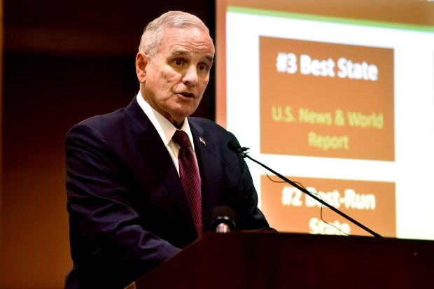Minnesota Gov. Mark Dayton discusses the February Budget and Economic Forecast at the State Capitol in St. Paul, Tuesday, Feb. 28, 2017. (Pioneer Press: Scott Takushi)