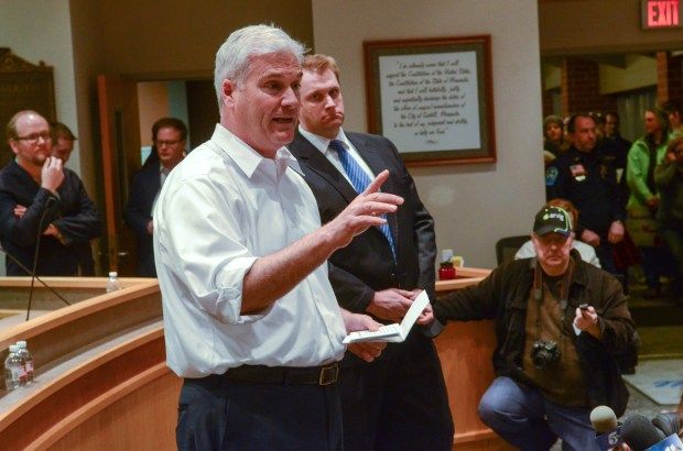 Rep. Tom Emmer, left, talks at a town hall meeting on Wednesday, Feb. 22, 2017 in Sartell. (Pioneer Press: David Montgomery)