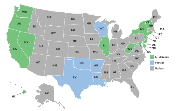 A map showing which states have bans on all handheld device usage while driving, created by the Insurance Institute for Highway Safety.