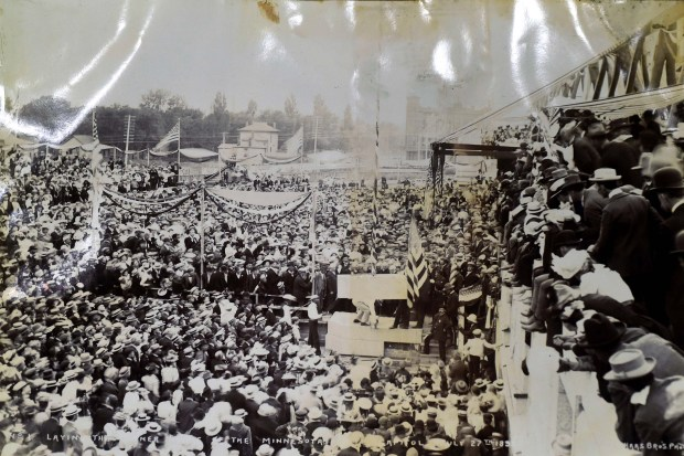 An image shows the crowd gathered for the ceremony to mark the laying of the cornerstone on July 27, 1898.