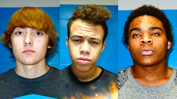 Combination photograph of three suspects -- from left, Trace Diedrich Schofield, Desmond TyreeJohn Trok and Matthew Phoenix Jones -- who were arrested Thursday, March 9, 2017 after allegedly transacting a drug deal at a gas station in Ellsworth, Wis., just paces away from Pierce County's law enforcement center. The Pierce County Attorney's Office charged Ellsworth resident Desmond T. Trok, 18, Knapp resident Matthew P. Jones, 18, and Menomonie resident Trace Schofield, 17, with delivering THC, a felony. A Pierce County sheriff's investigator pumping gas into his squad car and a Department of Natural Resources warden walking to his patrol truck from Pierce County Sheriff's Office both witnessed the transaction. Photo courtesy of the Pierce County Sheriff's Department.