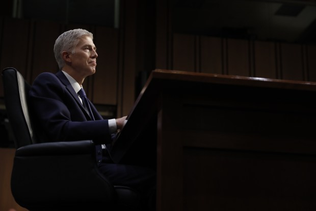 Supreme Court Justice nominee Neil Gorsuch listens on Capitol Hill in Washington, Monday, March 20, 2017, during his confirmation hearing before the Senate Judiciary Committee. (AP Photo/Pablo Martinez Monsivais)