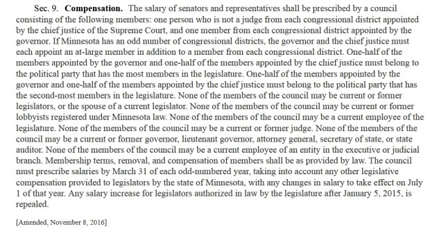 The language of the Minnesota constitution on legislative compensation.