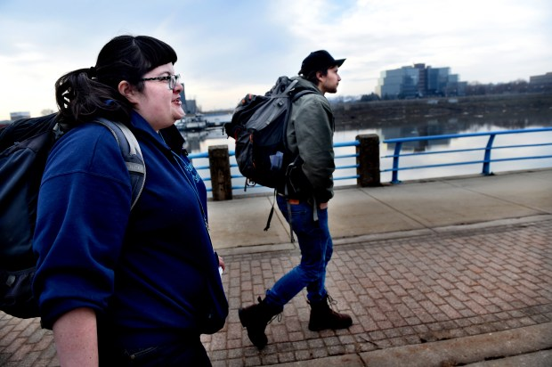 Katie Kennedy, left, and Matt Horn, homeless outreach workers from People, Inc. walk along the Mississippi River in downtown St. Paul before making contact with homeless people and trying to connect them to services in St. Paul on Wednesday, Feb. 22, 2017. (Pioneer Press: Jean Pieri)