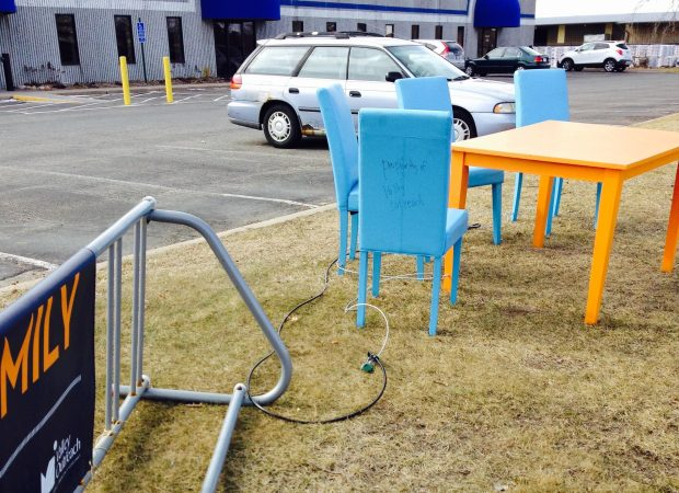 The table and chairs that were stolen the weekend of March 3-4, 2017, from outside the Valley Outreach food shelf in Stillwater were found March 8 outside someone's home. They're back on display at the food shelf, chained to a bike rack.(Courtesy of Valley Outreach)