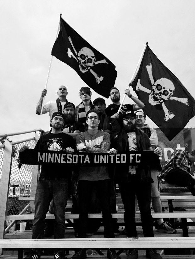 Members of the True North Elite supporters group for Minnesota United FC pose in an undated black and white photo before a Loons match at theNational Sports Center in Blaine. The group, which started in 2015 and has more than 150 members, are some of the most vocal supporters of the Major League Soccer expansion franchise. Courtesy of True North Elite.