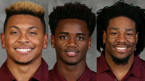 From left, safety Antoine Winfield Jr., quarterback Mark Williams and running back Kobe McCrary will not face punishment.