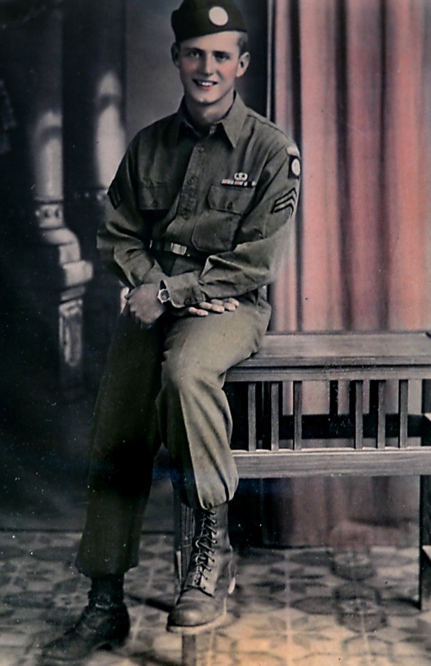 Henry Langevin is shown in a hand-colored black and white photograph, dated Oct. 22, 1943, taken after the Allied invasion of Sicily during World War II. Langevin is not your garden variety veteran raising the flag today for the Minnesota Twins home opener at Target Field in Minneapolis. The 94-year-old Roseville man was among the first WWII paratroopers who jumped behind enemy lines into Europe with the 82nd Airborne. He fought in the Battle of the Bulge and liberated concentration camps. He also has known Paul Molitor since the Twins manager was 12 after his son married Molitor's sister. Molitor specifically asked Langevin to raise the flag today. Courtesy of Henry Langevin.