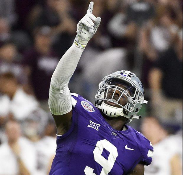 Kansas State linebacker Elijah Lee celebrates after Kansas State stopped Texas A&M on fourth down near the end of the Texas Bowl NCAA college football game, Wednesday, Dec. 28, 2016, in Houston. Kansas State won 33-28. (AP Photo/Eric Christian Smith)