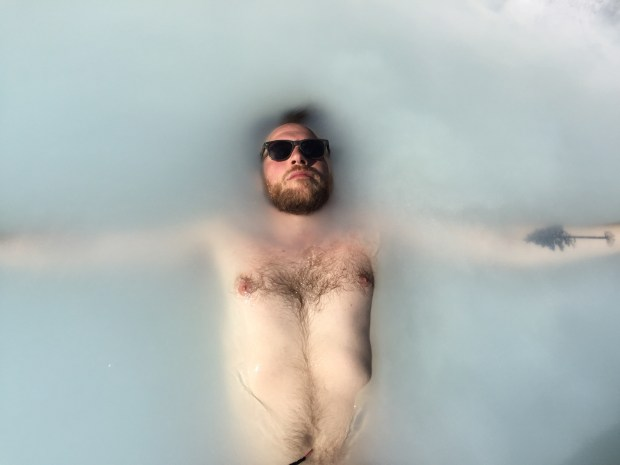 Andy Greder soaking in Blue Lagoon geothermal pool on the Reykjanes Peninsula in Iceland in May 2016. (Courtesy of Jackie Gaston)