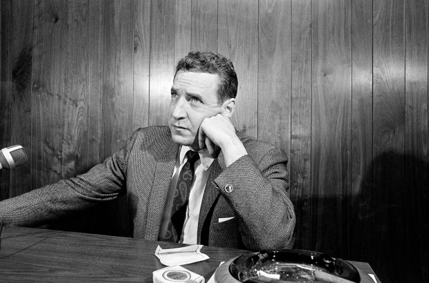 Minnesota Vikings general manager Jim Finks speaks at a news conference following the announcement that head coach Norm Van Brocklin had suddenly resigned in St. Paul, Minn., Nov. 15, 1965. (AP Photo/Gene Herrick)