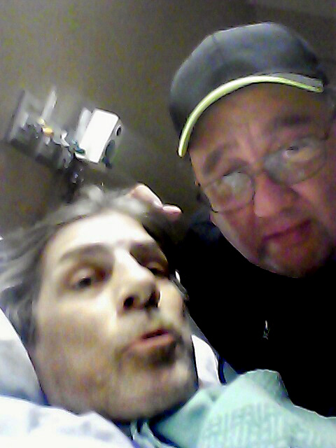 Rocco, left, poses for a selfie taken by his friend, St. Paul cab driver Michael Powell, in a Twin Cities hospital during March 2017. Rocco died March 11 at age 49 and his final wishes were to be driven around one last time in Powell's taxi. Rocco's family requested his last name not be used. (Courtesy of Michael Powell)
