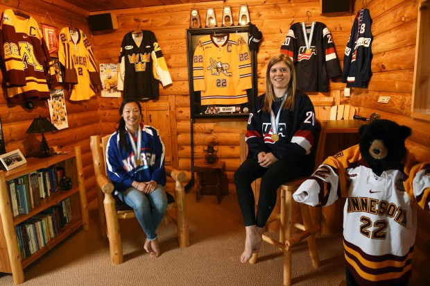 Sisters Marissa, left, and Hannah Brandt, photographed in their family home in Vadnais Heights on Thursday, May 11, 2017, will be playing in the 2018 Winter Olympics in Women's Hockey, Hannah for the U.S. and Marissa for South Korea. Hannah played in college for the University of Minnesota and Marissa for Gustavus Adolphus. (Scott Takushi / Pioneer Press)