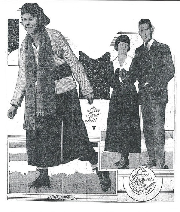 A picture published in the Jan. 4, 1920, edition of the St. Paul Pioneer Press shows F. Scott Fitzgerald's sister Annabel skating with Maud Hill, daughter of James J. Hill's son, Louis W., and Philip Weyerhaeuser, grandson of Frederick Weyerhaeuser. (Courtesy photo)