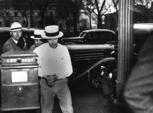 """Alvin """"Creepy"""" Karpis about to enter court in St. Paul. (Minnesota Historical Society)"""