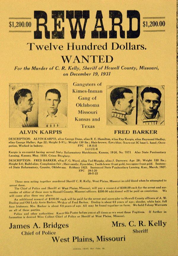 "A wanted poster for Alvin ""Creepy"" Karpis and Fred Barker."
