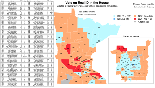 The Minnesota House take a final vote on Real ID, May 17, 2017 (David Montgomery/Pioneer Press)