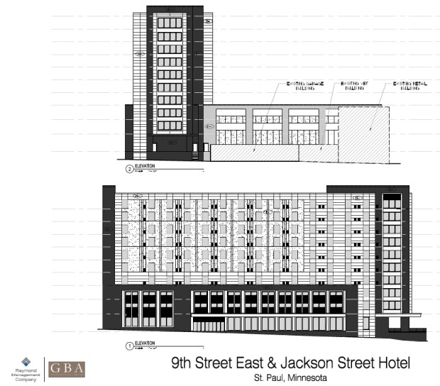 Undated black and white image, circa May 2017, shows preliminary renderings of a hotel proposed at 9th and Jackson streets in downtown St. Paul. An out-of-state developer is pitching plans for a 10-story hotel in downtown St. Paul. The 472 Jackson Street project, on a surface parking lot east of Jackson Street and bordered by 9th and 7th Streets, is being proposed by Middleton, Wis.-based developer Raymond Management Co. The plan calls for a 185 room structure which includes two levels of parking for guests. The project architect is Gary Brink and Associates, also based in Middleton. (Courtesy of CapitolRiver Council)