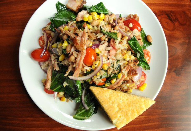The Hoppin John Salad at Brunson's Pub at 956 Payne Ave. on the East Side of St. Paul on Tuesday, May 23, 2017. (Ginger Pinson / Pioneer Press)