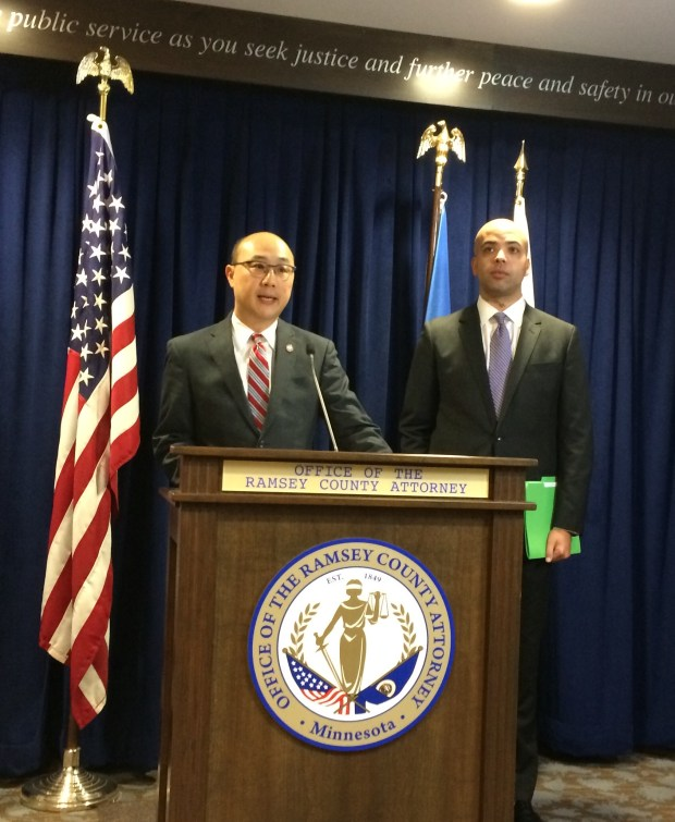 Ramsey County Attorney John Choi, left, and St. Paul City Attorney Samuel Clark speak at a press conference on Friday, May 26, 2017. (Pioneer Press: Mara H. Gottfried)